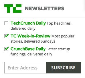 TechCrunch 電子報訂閱表單