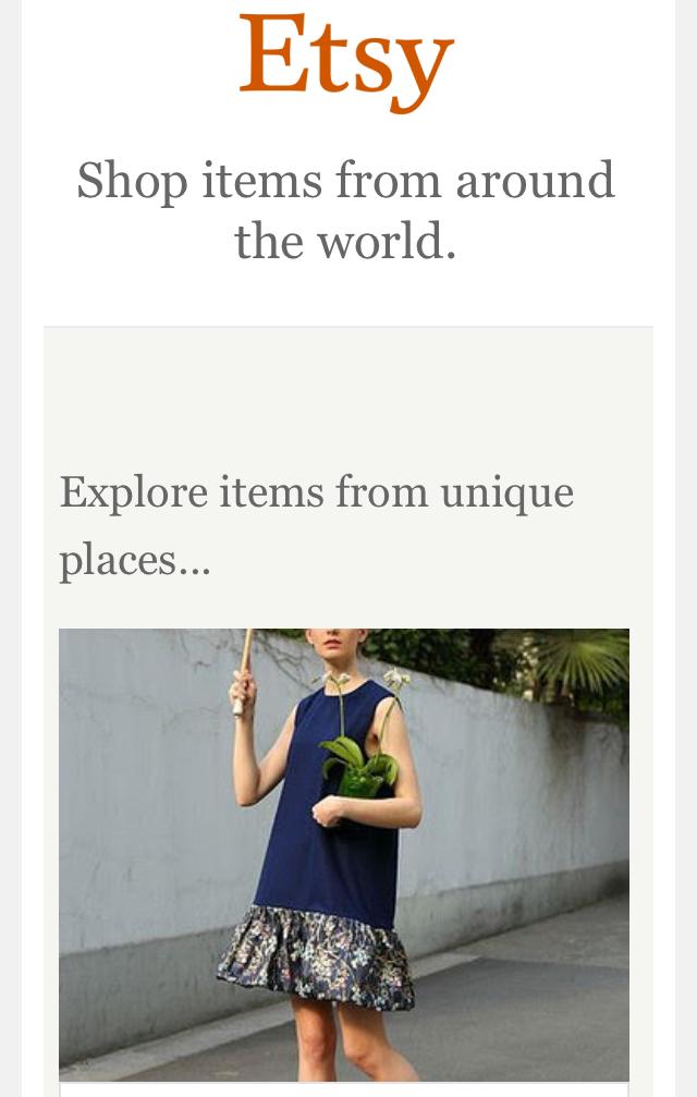 Etsy 的 EDM,用單欄式的設計,盡量讓商品圖片有足夠的空間來呈現